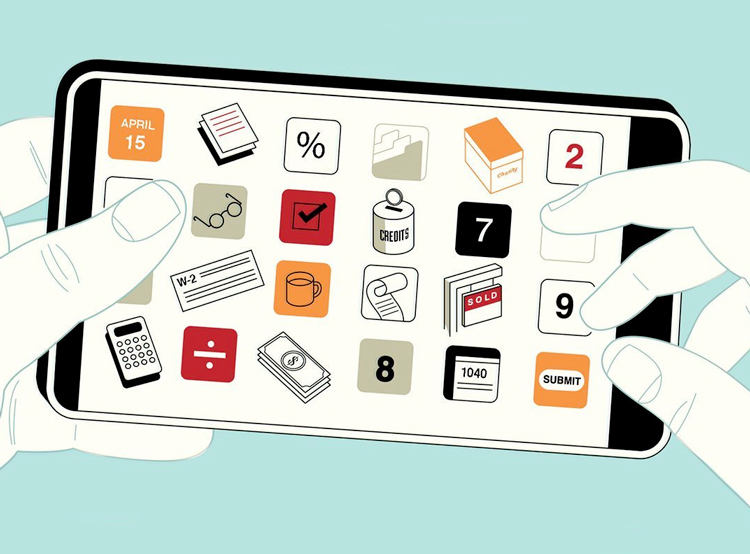 illustrated phone with tax symbols