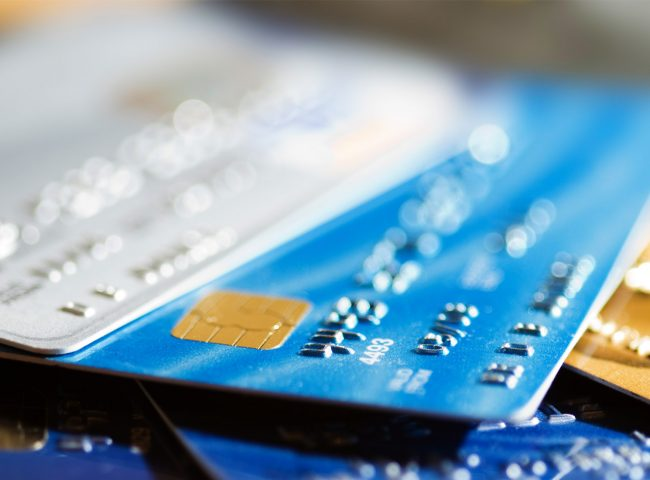 Picture of plastic debit and credit cards