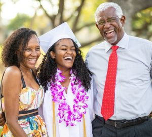 High school graduate celebrates monetary gifts with parents