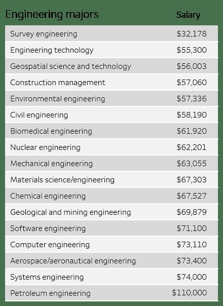 Engineering major stats