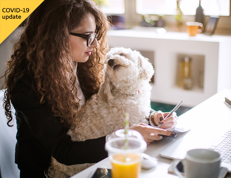 A student with a dog in her lap takes notes about her financial aid.