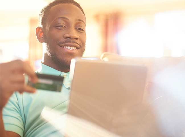 College student uses credit card to make an online payment