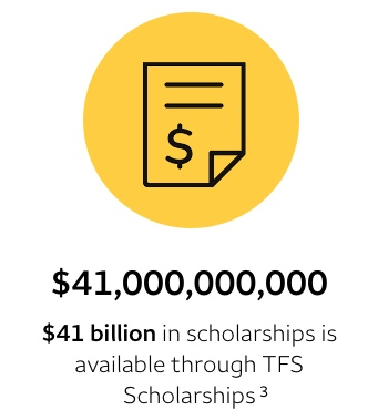 $41 billion in scholarships is listed on TFS Scholarships. Footnote 3
